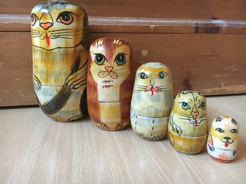 Russian nesting dolls with cat decoration