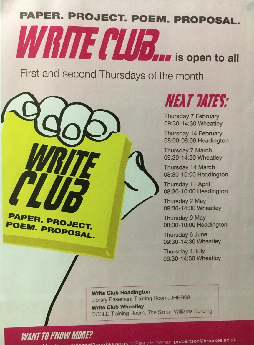 Poster for Write Club advertising dates and times